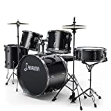 LAGRIMA 22 inch 5 Piece Full Size Complete Adult Drum Set with Adjustable Throne, Stainless Steel Cymbals, Pedal & 2 Drumsticks,Thick Drum Skin & Double Braced Hardware,Black