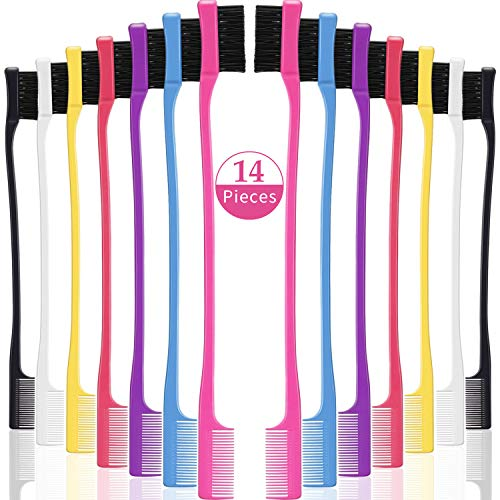 14 Pieces Hair Edge Brush Double Sided Control Hair Brush Comb Set Smooth Comb Grooming, 7 Colors