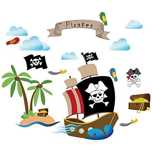 decalmile Wandtattoo Piratenschiff Kinderzimmer Jungen Wandsticker Wandaufkleber Babyzimmer Schlafzimmer Wanddekoration