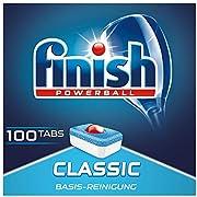 Finish Classic Spülmaschinentabs, phosphatfrei – Geschirrspültabs mit Powerball für die Basis-Reinigung des Geschirrs – Megapack mit 100 Finish Tabs