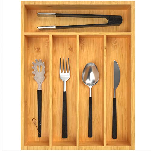 Kitchen Drawer Organizer 2 inch Deep Bamboo Silverware Tray for Drawer Small Cutlery Organizer with 5 Compartments Narrow Flatware Organizer for Spoons Forks Knives by FURNINXS Natural Color