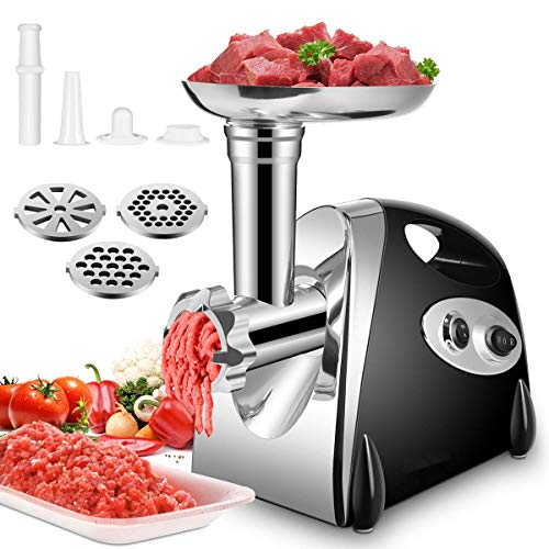 Electric Meat Grinder Meats Mincer Household Sausage Maker Food Grinding Mincing Machine with Kibbe Attachement - Powerful 2800W Copper Motor - Black