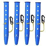 GEERTOP 31cm Aluminium Zeltheringen Heringe mit reflektierend Seil und Verstellvorrichtung Tasche für Sand Schnee Camping Wandern (Blau, 31cm)