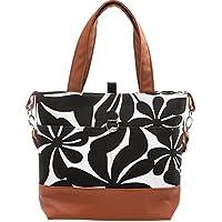 Urban Mom Black Floral Diaper Bag with Matching Change Pad & Zipper Pocket.