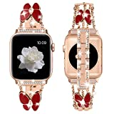 PROATL Bling Metal Bands Compatible with Apple Watch Band 38mm 40mm, Women Luxury Diamond Bling Crystal Replacement Strap for iWatch Band Series 6 5 4 3 2 1[ Red Butterfly+ Rose Gold, 38/40mm]