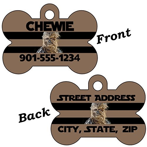 uDesignUSA Disney Star Wars Double Sided Pet Id Dog Tag Personalized w/ 4 Lines of Text (Chewbacca)