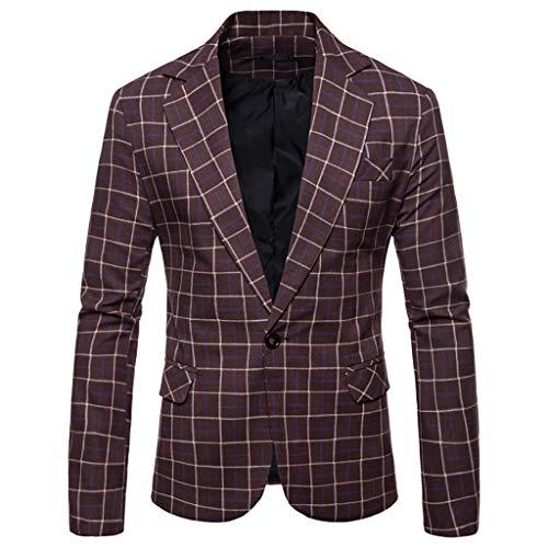 FRAUIT Giacca Uomo Casual A Quadri Vestito da Cerimonia Uomo Vestiti Uomo Moda Giacca Uomo Elegante Primaverile Abito da Sposo Uomo Cappotto Uomo Corto Elegante Blazer Uomini Casual Giacche