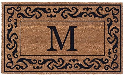 Coco Mats N More Black Rolling Scrolls Bordered Monogrammed Coco Doormat 22 x 36 with Vinyl product image