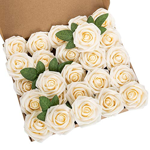 LuLuHouse 25pcs Artificial Flower Foam Rose Champagne Real Touch Roses Flower Heads with Stem for DIY Wedding Bouquets Centerpieces Arrangements Party Baby Shower Home Decor (25, Champagne)
