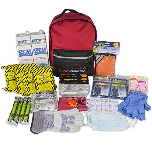 Ready America 70380 72 Hour Emergency Kit, 4-Person, 3-Day Backpack, Includes First Aid Kit,...