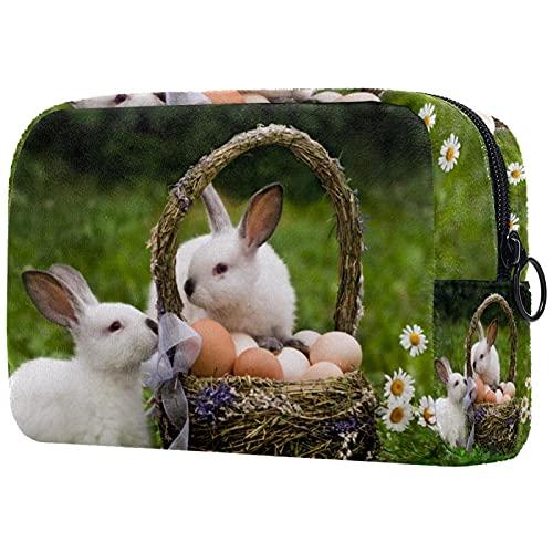 Bolsa de Maquillaje de Viaje cosméticos pequeñas para Mujer Cremallera portátil de Gran capacidadHuevos de Canasta de Conejos de Pascua para el Uso Diario del Bolso