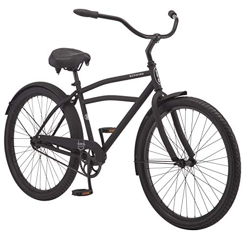 Schwinn Huron Adult Beach Cruiser Bike, Featuring 17-Inch/Medium Steel Step-Over Frames, 1-Speed Drivetrain, Black