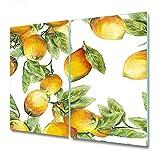 Coloray Tabla De Cortar 2x30x52cm Cocina Placa De Induccion Vidrio Templado Protector Para Servir Platos - Lemons Fruits
