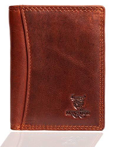 MATADOR hochwertige Herren Geldbörse Klein TÜV geprüfter RFID & NFC Schutz Portemonnaie Slim Wallet Brieftasche Leder Vintage Braun