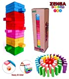 Prime Deals Zenga Wooden Blocks 54 Pcs Challenging Color Wooden Tumbling Tower, Wooden Zenga Toys with Dices Board Educational Puzzle Game for Adults and Kids.
