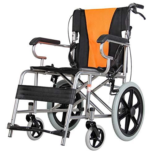 EMOGA Faltbarer Rollstuhl Mit rutschfest Armlehnen,11Kg Leichter Dicker Stahl,Transportrollstuhl Reiserollstuhl,Sitzbreite 50CM,Belastbarkeit 140Kg,Fußpedal 3 Höhenverstellbar,Black*Orange