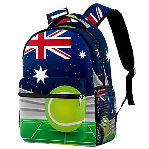 Bunte Kinderrucksack Unisex Kinder Rucksack für Grundschule Tennis australische Flagge Schulranzen für Jungen Mädchen 29.4x20x40cm