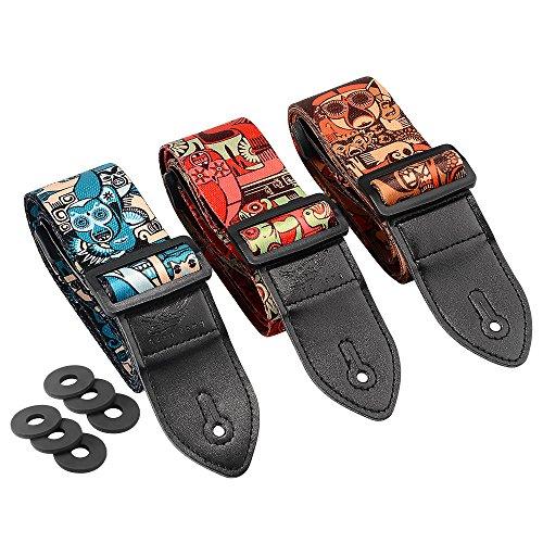Irich 3 Pezzi PU Tracolle per Chitarra, Chitarra Cinturino con 3 Pezzi Guitar Strap Security Lock per Acoustic Elettrica Basso Classica Folk Chitarra Ukulele (Serie Devil)