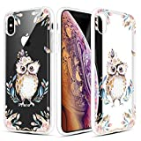 Caka iPhone Xs Max Case, iPhone Xs Max Clear Floral Case Flower Pattern Floral Series Slim Girly Anti Scratch Excellent Grip Premium Clarity TPU Crystal Case for iPhone Xs Max 6.5 inch (Owl)
