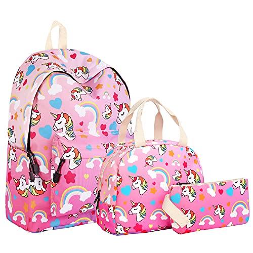 ZBK Juego de mochila escolar con diseño de unicornio, mochila para portátil con bolsa de almuerzo y estuche para lápices, para estudiantes, niñas y mujeres