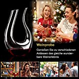 ADMY Wein Dekanter, 1.5L U-Form Weinkaraffe Set aus Kristallglas, Rotwein Bleifreies Glasdekanter, Dekantiergefäß Glasbelüftungsweinkaraffe, Dekantierflasche Geschenk für Weihnachten Weinliebhaber - 7