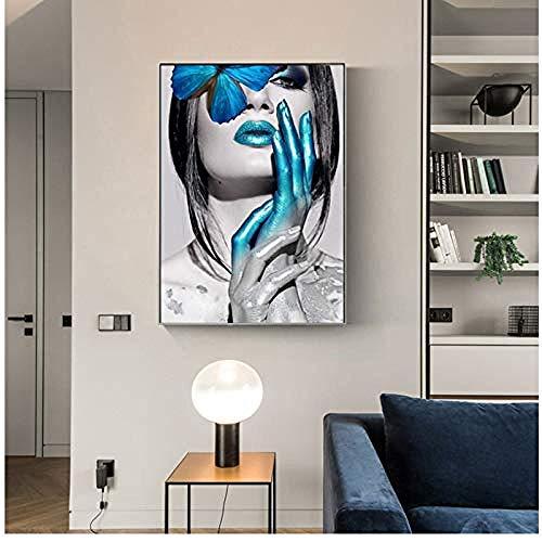 Canvas print,Mode vrouw vlinder lippen schilderij goud wit zwart Posters Abstract Wall Art Pictures voor woonkamer Home Decor-60x80cm
