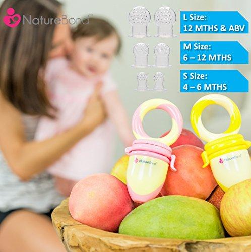 NatureBond Baby Fruit Feeder Babynahrung Nahrungsmittelzufuhr / Fruchtsauger Schnuller (2 Stück) – Baby Beißring in appetitanregenden Farben   Inklusive Bonus Silikon-Nippel (alle Größen) - 6