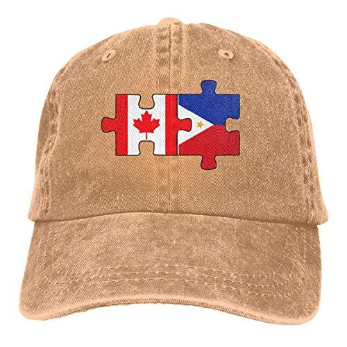 ONGH Männer Frauen Vintage Baumwolle Denim Baseball Cap Kanada und Philippinen Flaggen in Puzzle verstellbare Papa Hut