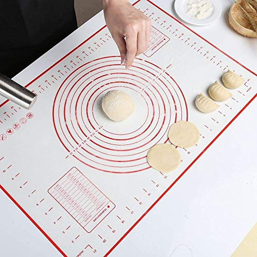 Coolnice Silicone Pastry Mat Extra Large Non Slip with Measurements Non Stick Dough Rolling Mat Silicone Pie Crust Mat For Fondant Pizza and Cookies 24x16 inch Red