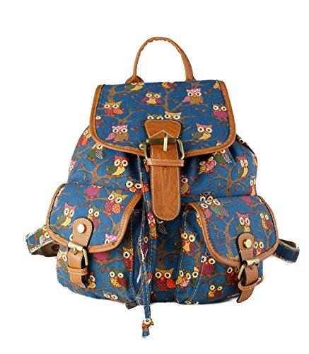Girls & Women's Owl Print Butterfly Print Canvas Backpack/Rucksack Shoulder travel Leisure Bag/School Bag (Navy)