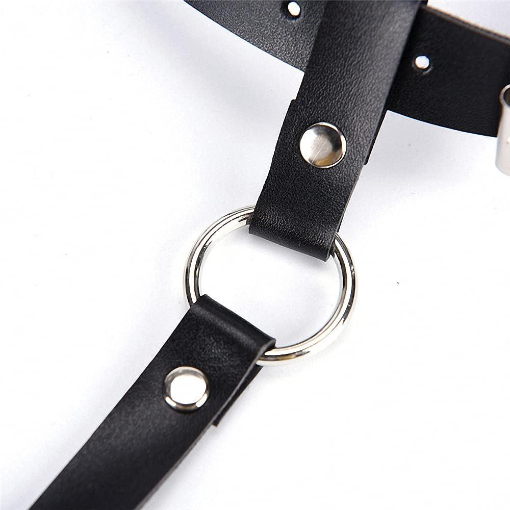 Women Men Leather Waist Garter Belt For Stockings Bow Handmade Punk Costume
