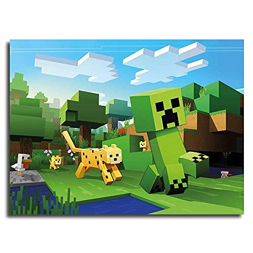 Leinwandbild, Motiv: Minecraft Ocelot Chasing Creepers, Wandkunst, Malerei, Leinwand, Poster, 61 x 45,7 cm