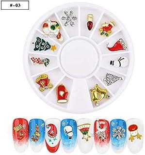 ICYCHEER 3D 金属クリスマスネイルアートの装飾 12 形状ラインストーンホイール DIY ツールマニキュアトナカイ、花輪、クリスマスツリー (03)