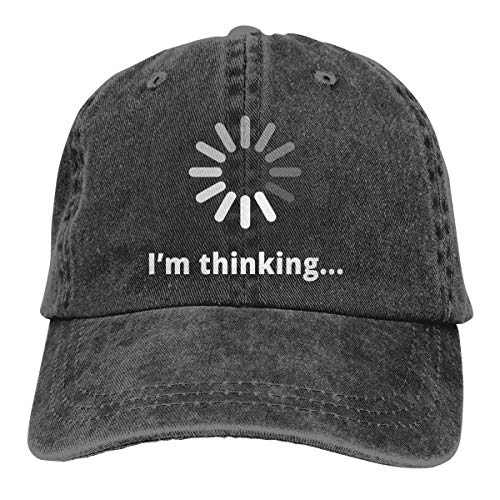 Waldeal Unisex I'm Thinking Computer Nerd Vintage Adjustable Baseball Cap Washed Denim Dat Hat Black