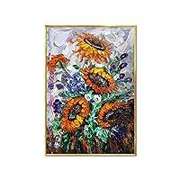 キャンバスプリント壁アート画像現代抽象水彩アートひまわり手描きポスターキャンバス絵画壁画像北欧の家のリビングルームの装飾-A_50X70Cm_No_Frame