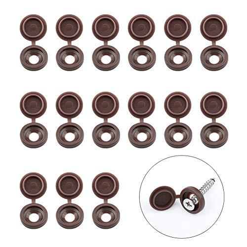 INCREWAY Tapas de rosca, 100 tapas de plástico marrón con bisagras plegables y arandelas de goma con caja de almacenamiento