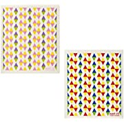 Wet-It! Swedish Dishcloth Set of 2 (Pastel and Primary Color Triangles)