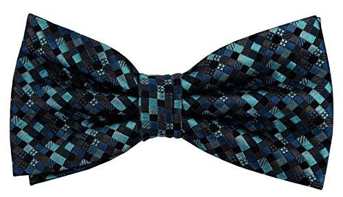 Designer Nœud papillon soie turquoise bleu anthracite noir à motifs - Nœud papillon soie silk