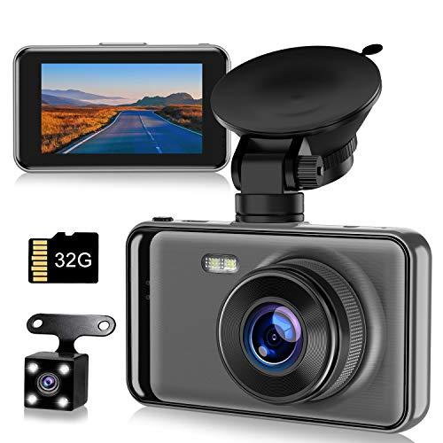 【令和最新型】ドライブレコーダー 前後カメラ 高画質 32Gカード付き 1080PフルHD 2カメラ 170度広角 LED信号機対策 スーパーナイトビジョン 操作簡単 上書き機能 WDR技術 防犯カメラ Gセンサー搭載/駐車監視/動体検知/ループ録画/高速起動/緊急録画/高温保護/ドラレコ 車載カメラ 暗視機能 日本語説明書付き