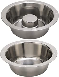 BINGPET Stainless Steel Slow Feed Dog Bowl - 4 Cup Extra Large Pet Slow Feeder, 2 Standard Metal Bowls Fit Elevated Feeder...