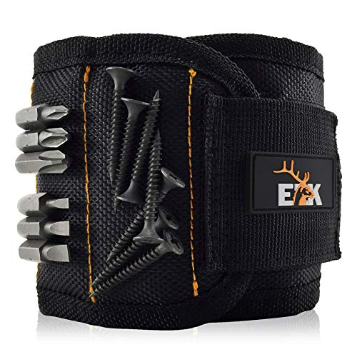 ELK Magnetic Wristband Small Armband Tool Organizer with Heavy Duty Strong Magnets for Holding Screws, Tools, Nails, Drill Bits - Cool and Useful Gift for Him, Men, Dads, Husband and Women (Black)