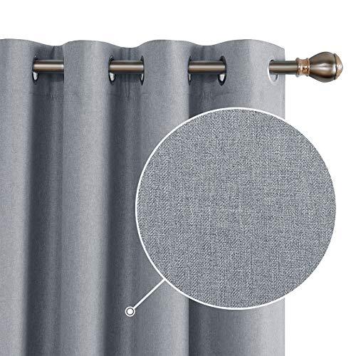 Deconovo 100 % ogenomskinliga gardiner gardiner sovrum öljettgardin mörkläggning linne utseende grå 175 x 140 cm set om 2
