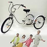 Triciclo para Adultos de 24 Pulgadas, Bicicleta de 3 Ruedas, Bicicleta de Pedales para Ancianos con Canasta de Compras y Luces, Triciclo para Discapacitados, Adecuado para Compras, Deportes (Blanco)