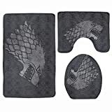 3-Piece Bath Mat Set House Stark Game of Thrones Bath Rug Set Soft Non Slip Bathroom Rugs for Kitchen Shower and Toilet