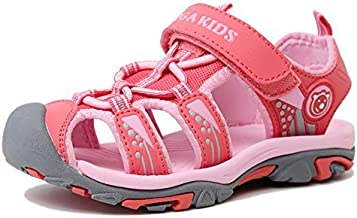 Poppin Kicks Boys' & Girls' Quick Dry Closed Toe Water Sandals (Toddler/Little Kid/Big Kid) (2.5 M US Little Kid, Peach/Pink)