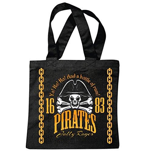 Reifen-Markt Bolsillo Bolso Bolsa Y una botella de ron del pirata CORSARIO Crneo esqueltico del crneo Bolsa de deporte Bolsas de Negro