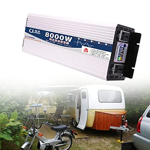NLJY Inversor De Energía De Onda Sinusoidal Pura 6000w DC 12v a 220v AC Convertidor, 1 Toma De Corriente Ca, Adecuado para Camiones Y Automóviles para Cargar Computadoras Portátiles,8000W-12V
