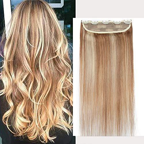 Clip in Extensions Echthaar - Remy Echthaar Haarteil 1 Tresse mit 5 clips Haarverlängerung 50cm-95g (#12/613 Light Golden Brown/Bleach Blonde)