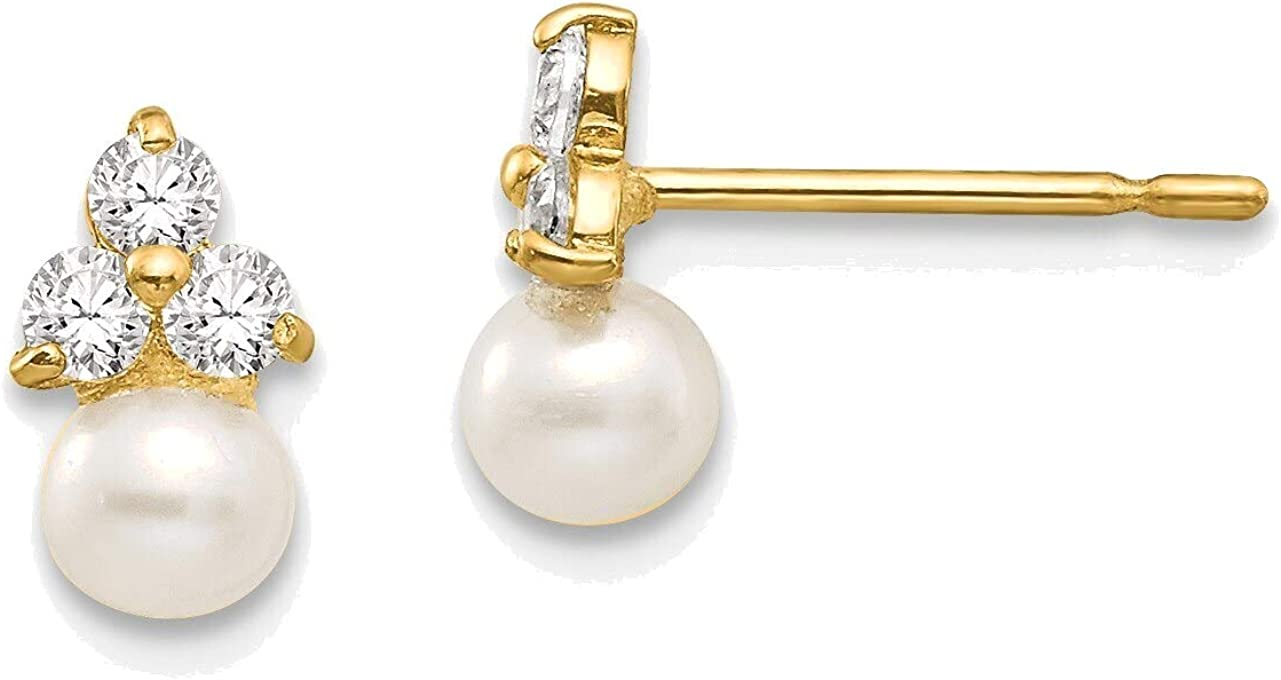 Madi K CZ and Freshwater Cultured Pearl Post Earrings in 14K Yellow Gold