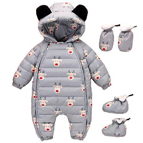 ZOEREA Combinaison De Neige Bébé Fille Garçon Doudoune Grenouillères Manteau Enfant Hiver Chaud Body Barboteuse à Capuche Snowsuit Gris, Étiquette 100